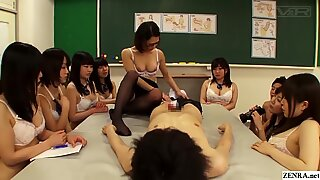 Japanese High School Schoolgirls Watch Teacher Have Hot Sex