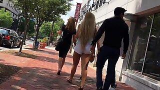 PAWG Candid Blonde Teen White Summer Shorts Goddess