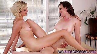 Lesbian licking masseuse