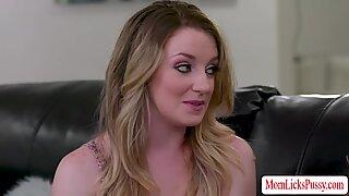 Jealous stepmom Kayla Paige licks her stepdaughter Kate Kennedys pussy