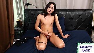 Cute asian tgirl strips off lingerie